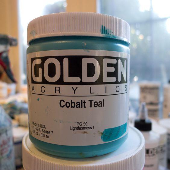 Golden Cobalt Teal acrylic paint