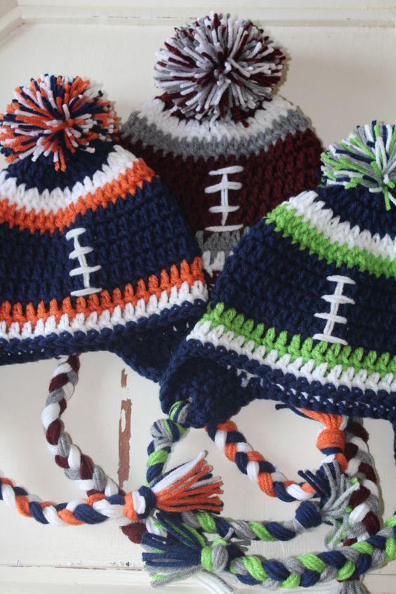 Football Beanie Hat, Crochet, Boy, Male, Female, Seahawks, Broncos, Griz, Bob Cats, Cardinals, Patriots, Green Bay, Cowboys, Fall Fashion by JillyBeaniesBoutique on Etsy https://www.etsy.com/listing/219150478/football-beanie-hat-crochet-boy-male