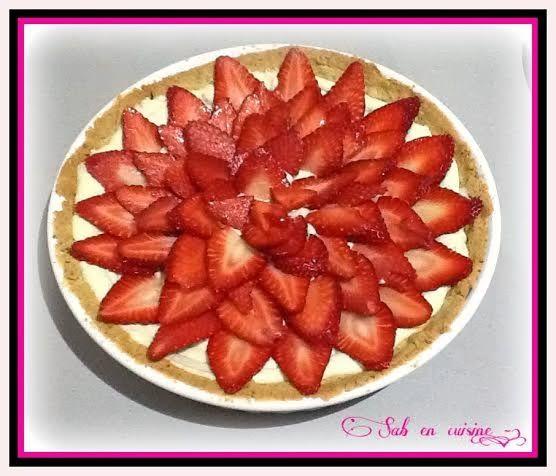 Tarte aux fraises sur mousseline de pistache