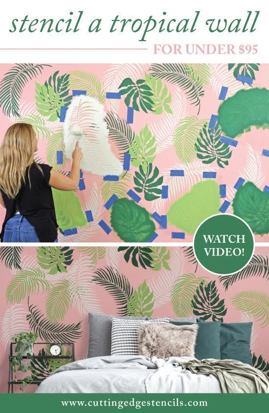 Stencil A Tropical Wall For Under 95 Stencil Stories Diy Painted Floors Wall Design Diy Accent Wall