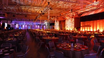 Up lighting by Duluth Event Lighting. Wedding Lighting, party and dinner lighting. DECC in Duluth, MN