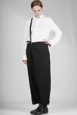 Y'S Yohji Yamamoto | ample pencil skirt in woollen fleece, viscose and cotton with linen inside lining | #yohjiyamamoto