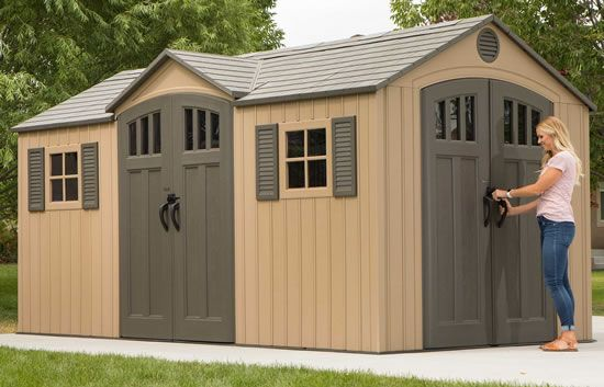 60091 45 Square Ft 320 Cubic Ft The Lifetime 8 X 6 5 Storage Shed Features Doors With Windows Vertica Shed Lifetime Storage Sheds Patio Landscaping
