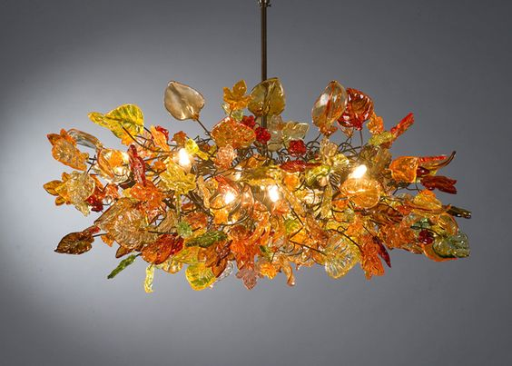Chandeliers Ceiling Lights With Orange Flowers And Leaves For