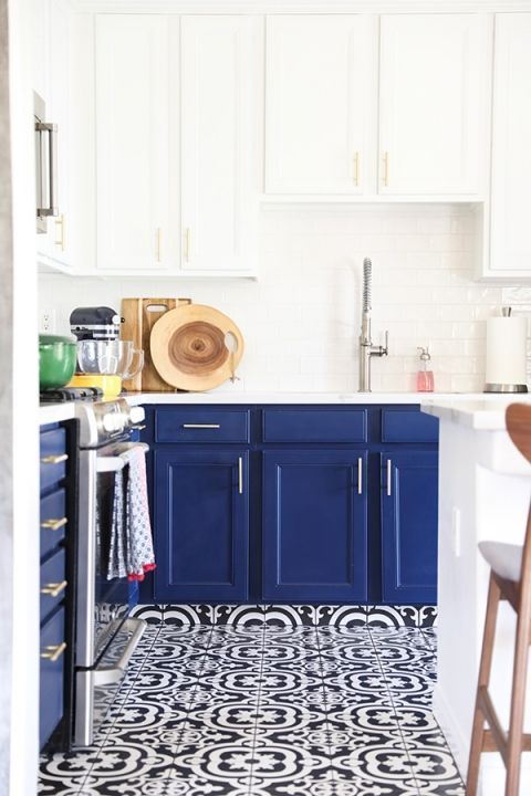 Navy Blue Kitchen Cabinets Black And White Tile Floor And Gold