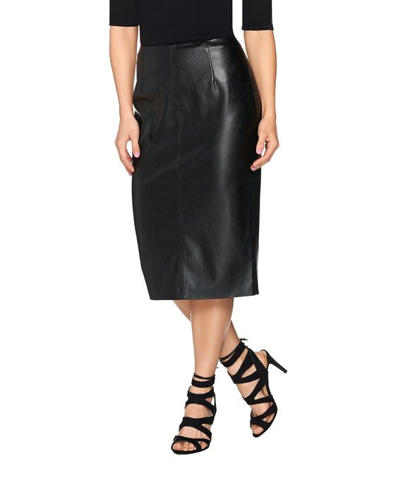 Noir Black Faux Leather Midi Pencil Skirt | Products | Pinterest ...