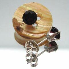 Red Garnet Round Stud Earrings, Sterling Silver