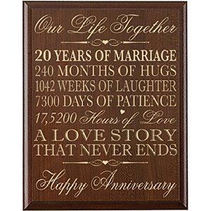 20th Wedding Anniversary Gift Ideas For Couple : 20th Wedding Anniversary Gifts Wall Plaque Gifts for Couple 20th ...