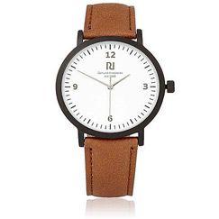 Klassische Armbanduhr für Männer in hellbraun und schwarz.