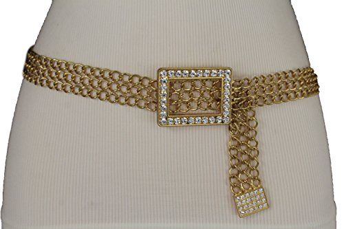 Women Hip Waist Skinny Elastic Belt Gold Metal Bling Long Plate Buckle S M L