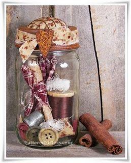 Primitive Mason Jar Sewing Kit