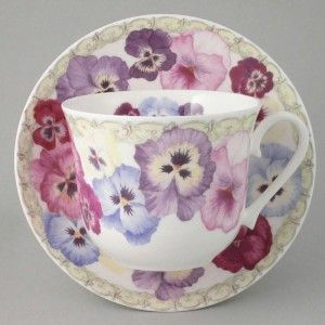 gorgeous ////   Love, love, love the pansy cup and saucer together.  Charming.