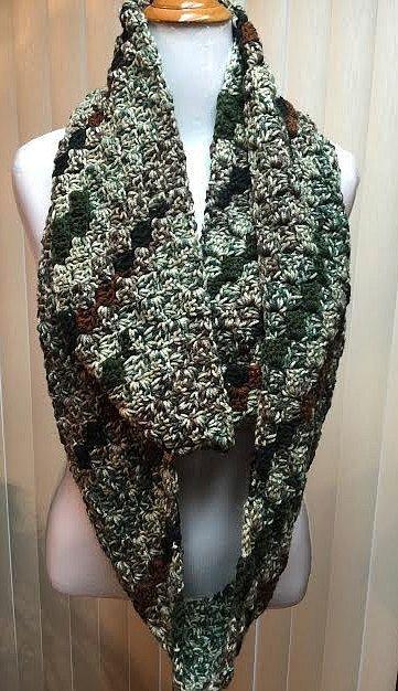 Camo Crochet Scarf, Camouflage Scarf, Green Camo Scarf, Green Infinity Scarf, Green Brown Scarf, Camo Knit Scarf, Camo Circle Scarf by CozyNCuteCrochet on Etsy