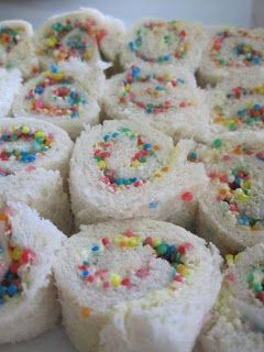 would do with anglefood cake and frosting with sprinkles in the middle and glitter sprinkles...becky