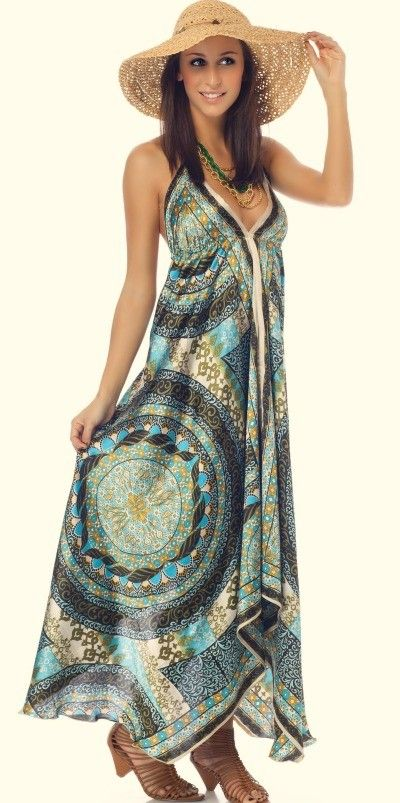 Handkerchief Dress Blue Printed Maxi Dress - Maxi Style ...