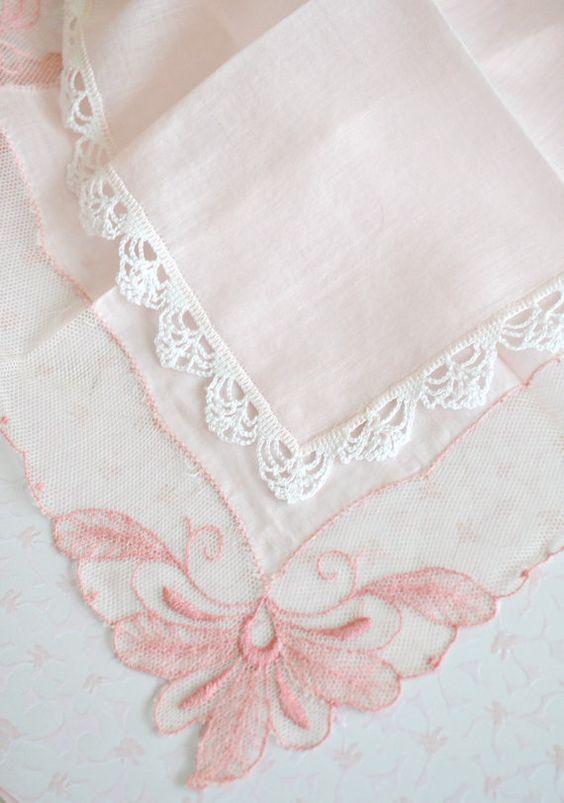 Gorgeous Pair of Vintage Pink Lace Handkerchiefs by Jenneliserose