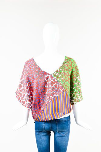 La-Prestic-Ouiston-NWT-490-Red-Blue-Silk-Printed-Patchwork-SS-Top-SZ-1