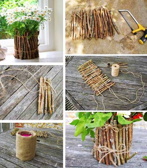 DIY Twig Pot Decoration
