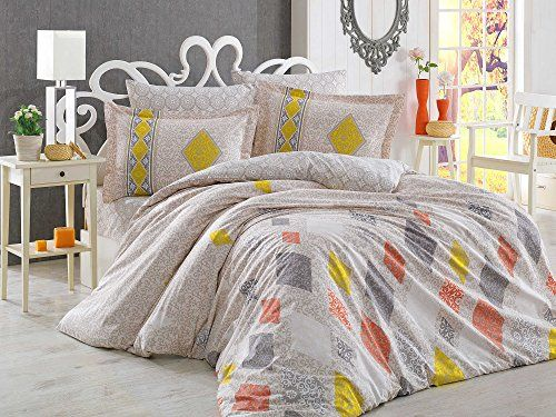 Dose Of Modern Rhapsody Cream Poplin Double Quilt Cover Set 113hby2636 Cream Yellow Brick Red Grey Quilt Cover Sets Quilt Cover Red And Grey