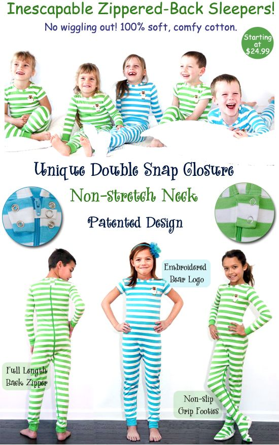 Toddler Sleepwear, taking off diaper, zippered Back pajamas, that are child proof, to stop little escape artists!