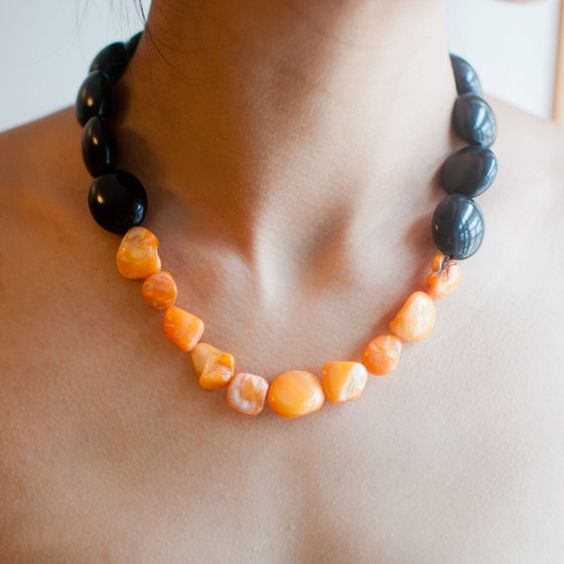 Orange & Black Plastic Seashell Beaded Chunky by sanwaitsai