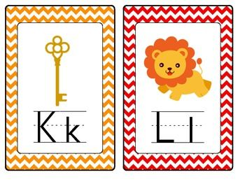 free Alphabet Word Wall Cards with Chevron theme