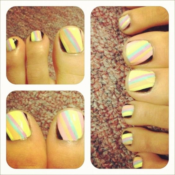 Nail Art on Toes- Pastel Stripes