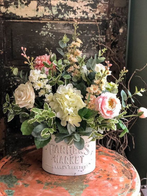 The Everly Rustic Farmhouse Spring XL Centerpiece For Table - Crested Perch