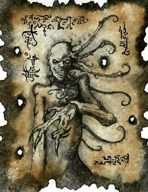 Necronomicon Page Grinning Demon Original Art Larp Lovecraft Monsters Cthulhu Illustrationart Lovecraft Monsters Cthulhu Art Cthulhu