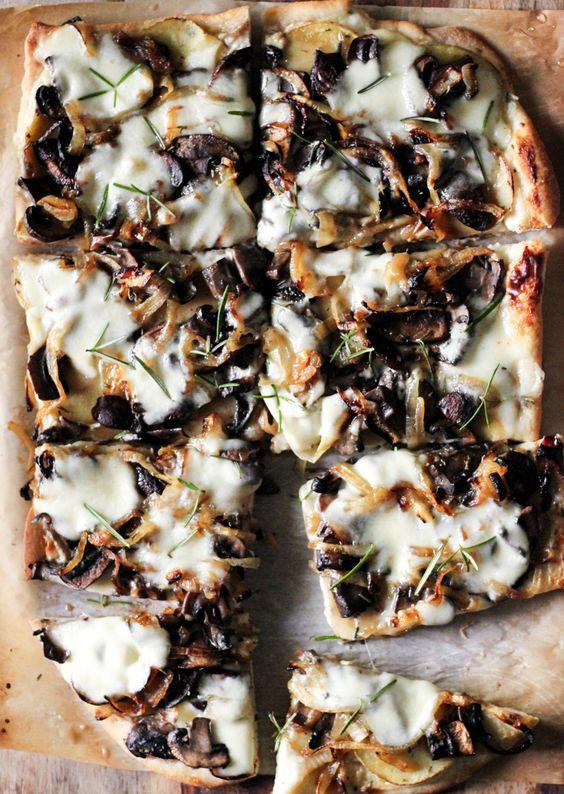 White Pizza: Caramelized Onions, Mushrooms + Rosemary Potatoes with Garlic Cream Sauce | SheEats.ca:
