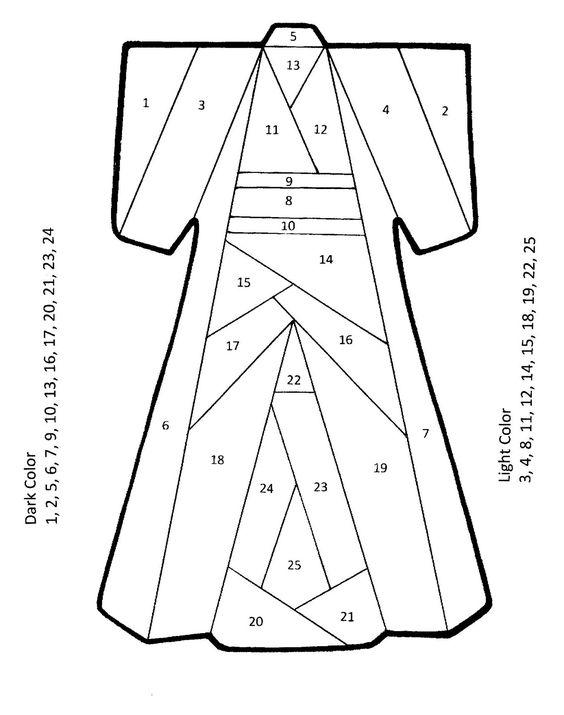 template for kimono ... iris folding pattern ...