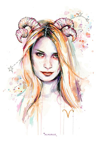 Horóscopo Aries. Ilustración pintada con acuarela #horoscope #illustration #artwork #portrait #watercolor #acuarela