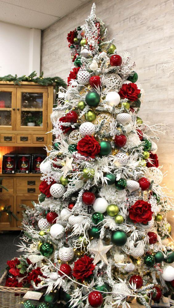 Arboles De Navidad Color Rojo Arboles De Navidad Blancos Navidad Blanca Decoracion Arbol De Navidad