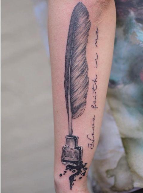 Feather Quill Tattoo On Hand Tattoo Designs Pen Tattoo Quill Tattoo