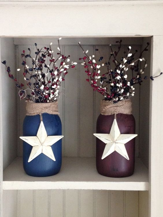 These beautiful primitive-style jars are crackle painted on the outside in your choice of Navy or Burgundy. Burlap wrapped around the neck