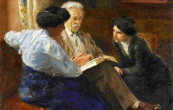 Alphons Joseph Marie Antoine Grandmont lendo para duas jovens italianas, década de 1900  [DETALHE] Bramine Hubrecht (Holanda, 1855-1913) óleo sobre tela, 100 x 100 cm Rijksmuseum, Amsterdam