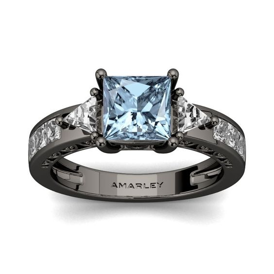 #Amarley Sterling Silver 1.50 CT. Princess Cut Aquamarine CZ Cubic Zirconia 3 Stone Ring. Priced at $75.95 - Subject to change depending on the supplier. Was $165.