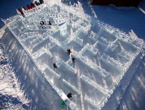 Very nice shot of an ice maze and a few brave souls in the cold.