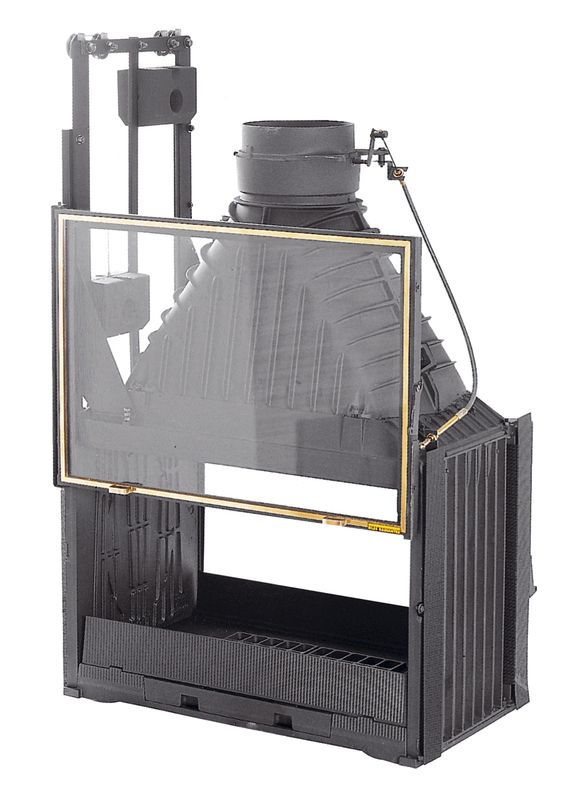 Double sided cast iron slow combustion open fireplace by for Double sided open fireplace