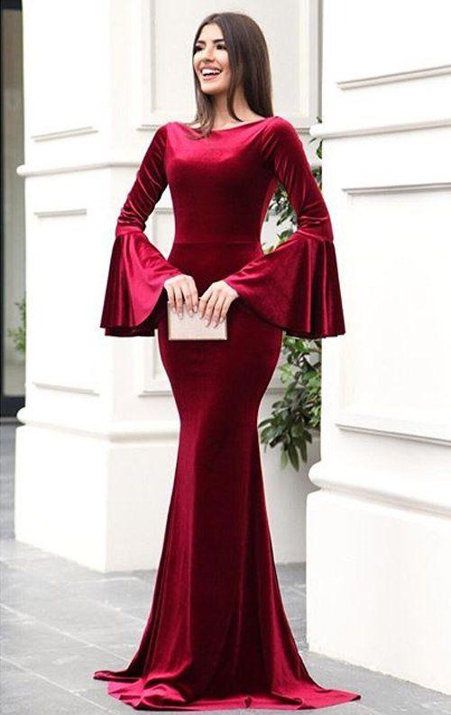 Bordo Kadife Ispanyol Balik Abiye Elbise Uzun Elbise Elbise Modelleri Elbiseler