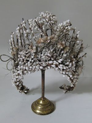 ~Victorian wedding headdress, made with wax flowers. c1880~