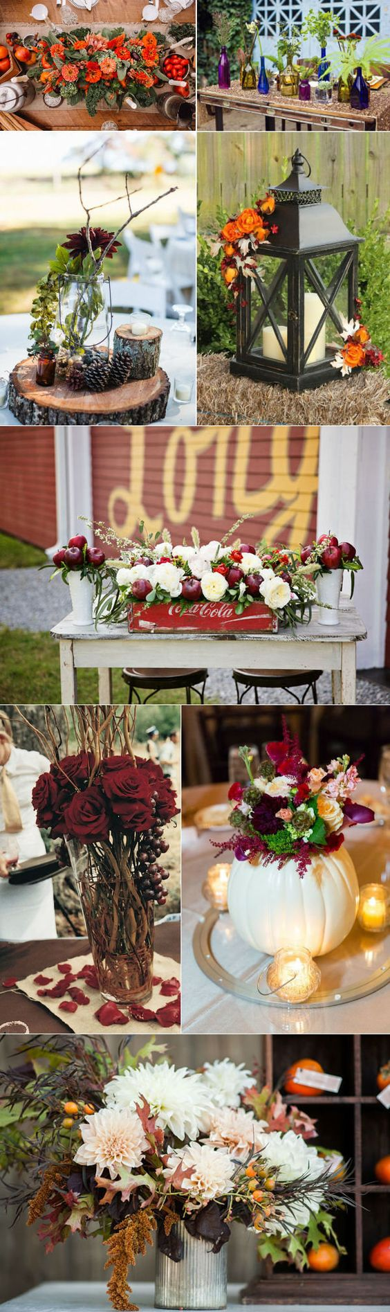 elegant country rustic fall wedding centerpieces