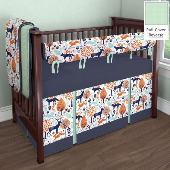 Navy and Orange Woodland Animal Nursery Idea  Customizable Crib Bedding Set  Carousel Designs