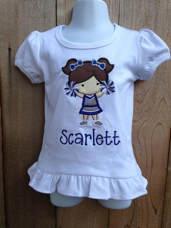 Smock Your Tot - Appliqued Cheerleader Shirt or Onesie, $24.95 (http://www.smockyourtot.com/appliqued-cheerleader-shirt-or-onesie/)