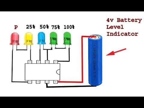How To Make 4 Volt Battery Level Indicator Diy Idea Electronics Projects Diy Electronics Circuit Electronic Circuit Projects