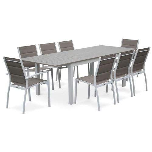 Salon De Jardin Chicago Taupe Table Extensible 175 245cm Avec Rallonge Et 8 Assises En Salon De Jardin Aluminium Mobilier Jardin Table Et Chaises De Jardin