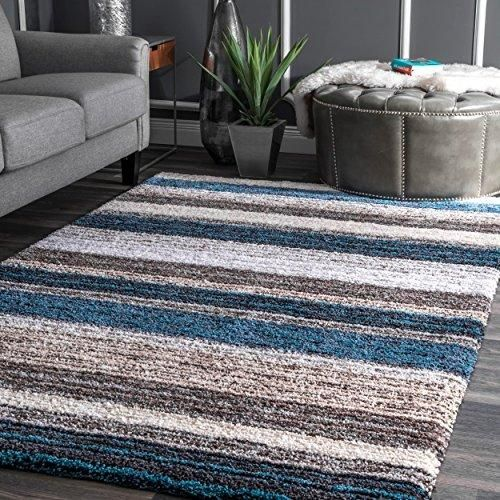4 X6 Ft Colored Blue Grey Brown Gray Striped Patterned Shag Area Rug Indoor Rugby Stripes Nautical Living Room Mat Rectangle Carpet Plush Soft Feel Living Room Mats Living Room Carpet Blue Living
