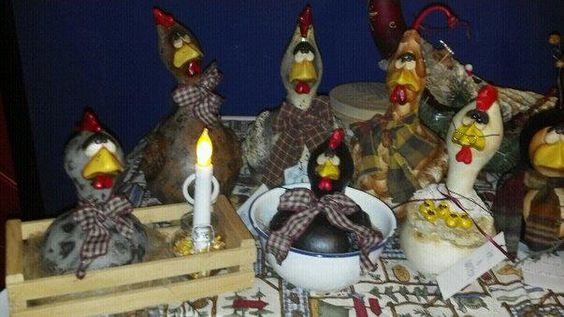 Latest batch of gourd chickens. I sculpt clay on gourds and create one of a kind pieces of art
