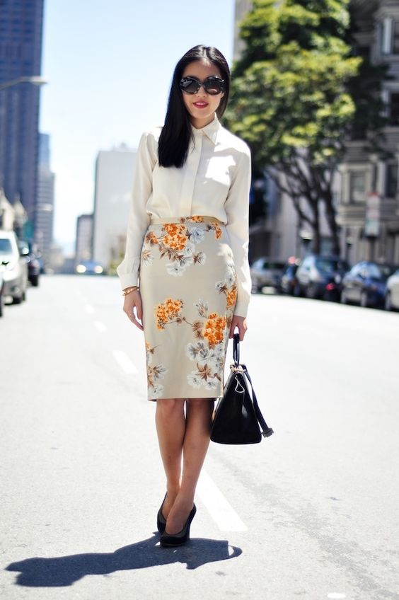Creme blouse and floral print pencil skirt. Great versatile investment pieces.