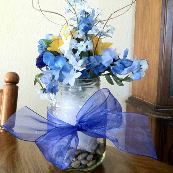 Small bluebonnet jar centerpiece for bridal shower ctc